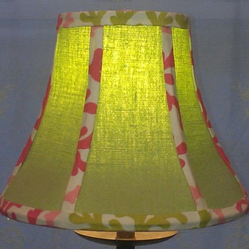 Lamp Shade, Green Cotton Upholstery Fabric, Pink Coral Stripes on a Bell Shaped Hexagon Frame Brass Washer Top