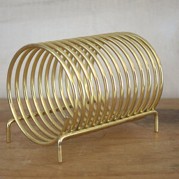 Gold Spring Letter Holder, Brass Envelope Holder, Desktop Bill Sorter