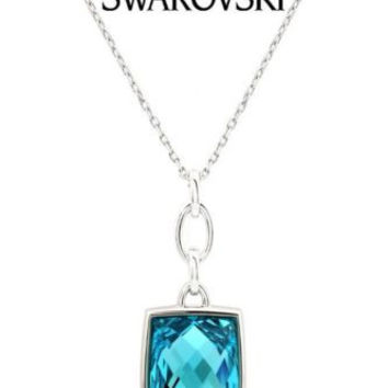 Swarovski Crystal Silver NIRVANA Pendant Necklace Turquoise #1169523 New