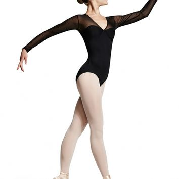Mirella Polka Dot Mesh Long Sleeve Leotard / Bloch