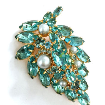 Alice Caviness Aqua Blue Brooch