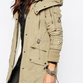 Noisy May Petite Miss Parka With Fishtail Hem