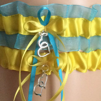 Yellow and Turquoise Wedding Garter Set, Bridal Garter Sets, Prom Garter, Keepsake Garter, Garter, Bridal Accessories