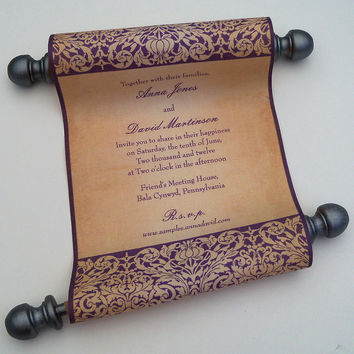 Fairytale Wedding Invitation, vintage medieval wedding invitation, fabric scroll, elegant wedding invitation, set of 10