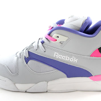 Reebok Pump Court Victory Cord Men's Gray/Purple/Pink Tennis Sneakers Shoes v60089