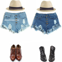 New Arrival Women Vintage High Waist 4 colors options Jeans Hole Short Jeans Denim Shorts