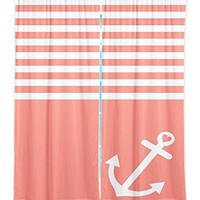 Window Curtains Unlined from DiaNoche Designs Artistic, Stylish, Unique, Decorative, Fun, Funky, Cool by Organic Saturation - Coral Love Anchor Nautical