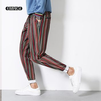 Male Casual Pants Color Stripes Harem Pant Plus Size M-5XL Men Fasion Pant