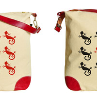 Women Gecko Pattern Print Canvas Leather Trap Tote Shoulder Bag WAS_33