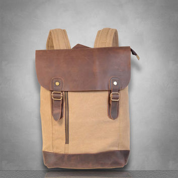 New zip detail Genuine Leather and Canvas backpack Bag laptop tablet A4 documents rucksack travel business casual school