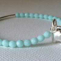Good Luck Elephant Charm,Turquoise and Sterling Silver, Good Luck, Lucky, Bridesmaids gift