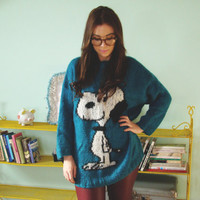 Vintage 80's Snoopy Jumper Turqoise Knitted by kickassvintage