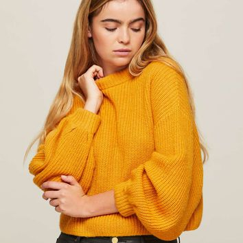 Ochre Volume Sleeve Ribbed Knitted Jumper - New In