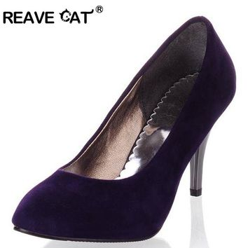 REAVE CAT Plus size 34-45 Spring summer Women shoes Pointed toe Spool heels Flock sandals Pumps Fashion Sexy Party Purple QL4451
