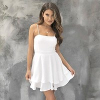 Cheers To That White Skater Dress