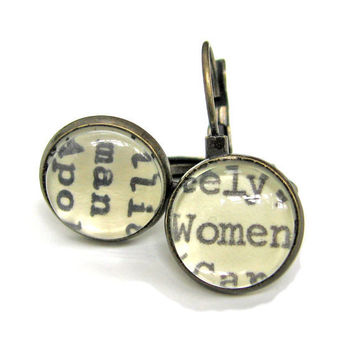 Man and Woman Women Recycled Library Card Word Earrings Patina Brass