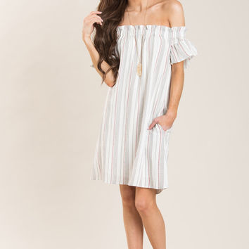 Tricia Black and Red Striped Off the Shoulder Dress