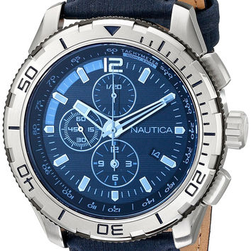 Nautica Men's NAD19518G NST101 Stainless Steel Watch with Leather Band