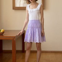 LAVENDER SCALLOPED LACE SKIRT