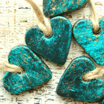 Boho gift tags heart napkin holders place card tags wedding favors teal emerald guest favors bridal shower bohemian wedding rustic wedding