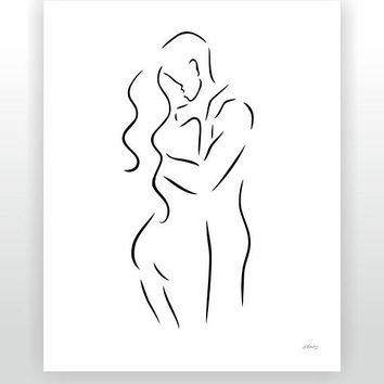 Kiss art print. Minimalist nude sketch. Elegant couple line art. Romantic drawing. Anniversary gift. Love, lovers, embrace illustration.