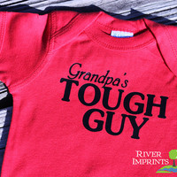 Baby GRANDPA'S TOUGH GUY boy short sleeve bodysuit/creeper