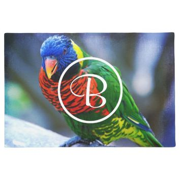 Red blue green bird custom monogram photo doormat