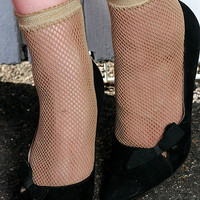 Retro Funky Sexy Hand Dyed Fishnet Mesh Ankle Socks Beige