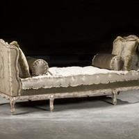 French Country Style Daybed Settee, High End Furnishings Upholstered Furniture