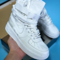 DCCK N404 Nike air force 1 Double button function shoe side zipper leisure high top shoes White