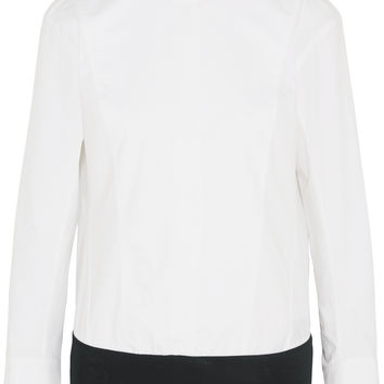 Donna Karan New York - Cotton-poplin and stretch-jersey turtleneck bodysuit