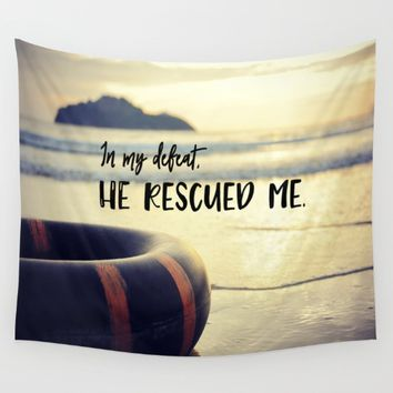 God Rescued Me  Wall Tapestry by Quote Life Shop