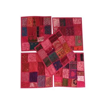 Mogul Indian Vintage Handmade Patchwork Sofa Cushion Cover Pink Embroidered Ethnic Decorative Cushion Cover 16x16 Set Of 5 - Walmart.com