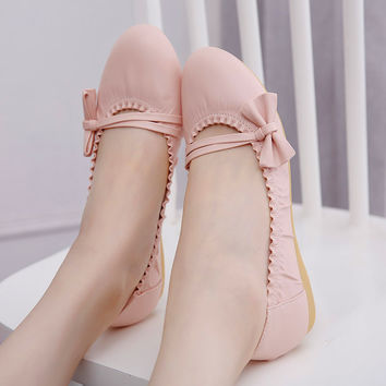 Ladies White/Pink Soft PU Ballet Shoes Sweet Girl Lolita Princess Shoes with Bow