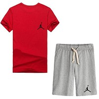 Trendsetter Jordan Women Men Casual Sport T-Shirt Top Tee Shorts Set Two-Piece
