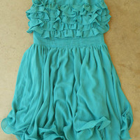 Gathered Ruffles Party Dress [3216] - $36.00 : Vintage Inspired Clothing & Affordable Fall Frocks, deloom   Modern. Vintage. Crafted.