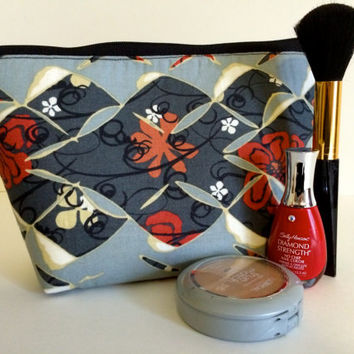 Medium Japanese Kimono Cosmetic Bag Makeup Pouch Gadget bag