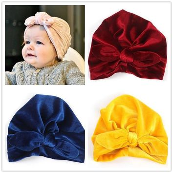 New Velvet Rabbit Ears Indian Hat Bandanas Baby Girls Kids Turban Headband Hair Head Band Wrap Accessories For Children Headwrap