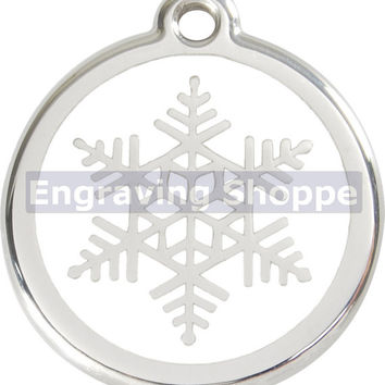 Snow Flake Enamel and Stainless Steel Personalized Custom Pet Tag with LIFETIME GUARANTEE ID Tag Dog Tags and Cat Tags Free Engraving