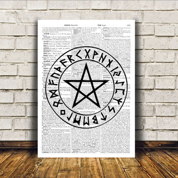 Occult poster Pentacle print Witch art Modern decor RTA178
