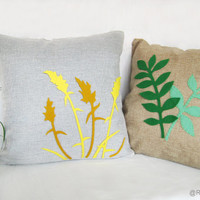 Spring Wild Grass Light Grey Burlap And Yellow Pillow Cover. Modern Floral Meadow Pillow. Rustic Botanical Cushion Cover