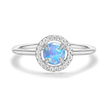 PAVOI 14K Gold Plated CZ and Created Opal Ring