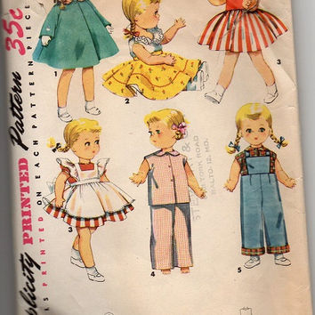 "Vintage 1950s Saucy Walker Doll Clothes Simplicity Sewing Pattern Dress Coat Hat Blouse Petticoat Wardrobe 16"" Size"