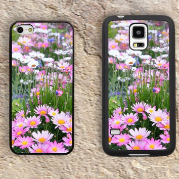 Pink White Daisy iPhone Case-Flower Patterns Floral iPhone 5/5S Case,iPhone 4/4S Case,iPhone 5c Cases,Iphone 6 case,iPhone 6 plus cases,Samsung Galaxy S3/S4/S5-282