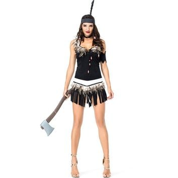 New Women Halloween Primitive Native Indian chief Costume Female Warrior Cosplay Carnival Purim Masquerade Nightclub party dress