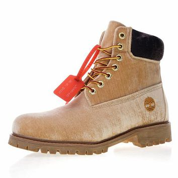 Virgil Abloh OFF-WHITE x Timberland Velvet Hiking Boots Brown - Best Deal Online