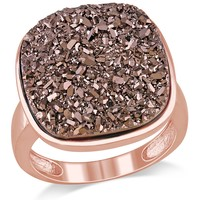 Silver Pink Plated Coffee Colour Druzy Fashion Ring in Sterling Silver