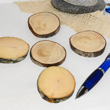 Wood Slices Five Pieces-Rustic Wooden Slices-Favors-Crafts & More-Set Of 5 Blank Wood Slices For Supplies-Wood With Bark