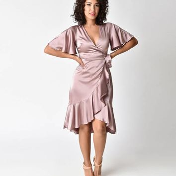 1940s Style Dusty Pink Short Sleeve Satin Midi Wrap Dress