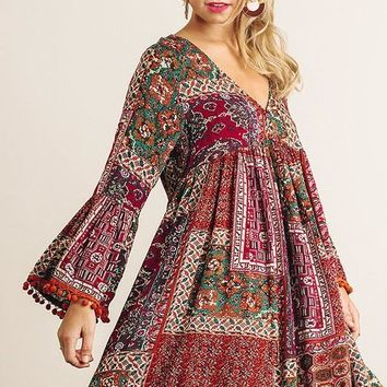 Mixed Pattern Tassel Dress - Burgundy